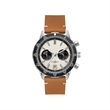 Unisex Watch Men's Chronograph Watch - Men's and women's chronograph watch with a 44mm brushed silver metal case, folded steel bracelet, and rotating bezel.