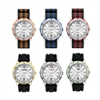 Unisex Sport Watch Unisex Sport Watch - Watch for men and women featuring a 43.5mm matte silver metal case, leather straps, and bezel ring in an assortment of colors.