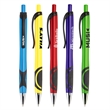 """Highland XG Pen - 5 5/8"""" x 1"""" plastic plunger-action ballpoint pen with black pocket clip and rubber grip."""