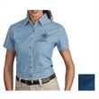 Port & Company Ladies' Short Sleeve Value Denim Shirt - Ladies' short-sleeve 6.5 oz. denim shirt made from 100% cotton with double-needle stitching and an open collar