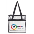 """Basic Clear Zipper Tote - 12"""" x 12"""" x 6"""" clear tote that complies with new NFL and PGA security bag requirements and has 1"""" wide handles"""