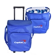 Soft Trolley Cooler - 600 Denier polyester soft rolling trolley-style cooler with PEVA insulation and adjustable shoulder strap. Holds 24 cans.