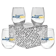 """Stemless Wine Glass Thank You Set - Set of four 4.375"""" x 4"""" 15-ounce stemless wine glasses in """"Thank You"""" presentation gift box."""