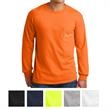 Gildan® Ultra Cotton™ Long Sleeve Tee w/ Pocket - Gildan 100% cotton long sleeve t-shirt with left chest pocket, double-needle neck and hem, and taped neck and shoulders.