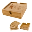 """Bamboo Coaster Set - Bamboo coaster set measuring 4"""" x 4"""" for protecting tabletops from scratches and spills."""