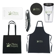 Wine Party Kit - Kit includes: tote bag, cutting board, apron, wine tumbler, 7-in-1 party buddy, waiter's knife and bonded leather coaster.