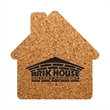 """House Shaped Cork Coaster - Durable, absorbent coasters protect tabletops and desktops from cup rings. Constructed from 1/8"""" thick natural cork material."""