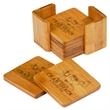 "3.75 X 3.75 Square Bamboo Coaster Set - 3 3/4"" x 3 3/4"" Bamboo Square 6-Coaster Set with Holder."