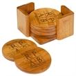 """3.75"""" Round Bamboo Coaster Set - 3 3/4"""" Bamboo Round 6-Coaster Set with Holder."""