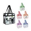 """Zippered Clear Vinly NFL Stadium Compliant Tote With Handles - Clear PVC Zippered Stadium Tote Bag 6"""" gusset and 20"""" long handles that make it easy to carry with you all day!"""