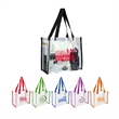 """Clear Vinly NFL Stadium Compliant Tote Bag With Handles - Clear PVC Stadium Tote Bag 6"""" gusset and 20"""" long handles that make it easy to carry with you all day!"""