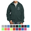 Port & Company Youth Core Fleece Full-Zip Hooded Sweatshirt - 7.8 oz. youth full-zip hooded sweatshirt, made from a 50/50 blend of cotton/polyester fleece, no drawcord at the hood