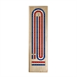 Classic Cribbage Set - Solid Wood TriColor (Red, White, Blue - Classic Cribbage Set - Solid Wood TriColor (Red, White, Blue) Continuous 3 Track Board with Metal Pegs