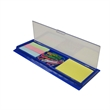 Clip Ruler & Sticky Caddy - Desk caddy with rulers, sticky notes, and paper clips.