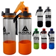 LOCKING 22 OZ. GLASS GRIP BOTTLE - 22 oz. refillable water bottle with TPR sleeve Includes locking lid with lanyard BPA free; Not recommended for dishwasher or micro