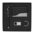 Langley Classic Business Gift Set - Classy business gift set with an elegant rollerball pen, a business card holder, and a keychain with a black leatherette strap.