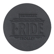 """Black Leather Coasters - Debossed - Black 100% full grain leather coasters made from 100% post-industrial waste with 1/8"""" thickness."""