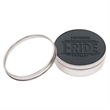 Set of 4 Black Leather Coasters w/ Polished Metal Clear Top - Natural 100% full-grain black leather coasters inside polished metal clear top tins.