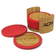 """Bamboo and Silicone Coaster  Set - Six 4-3/4"""" round coasters that are made of Bamboo with silicone bottom and edge and bamboo stand."""
