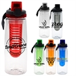 LOCKING 25 OZ. CLEAR CONTOUR BOTTLE WITH INFUSER  - 25 oz. refillable water bottle  Includes locking lid with lanyard and infuser  Holds 21-23 oz. when infuser is filled with fruit