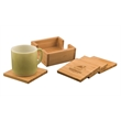 Bamboo Coaster Set - These coasters come in 4 piece square sets and six piece square and circle sets with holders.