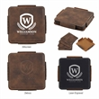 4-Piece Coaster Set With Holder - Coaster set made of polyurethane leather with four coasters that feature a skid-resistant bottom