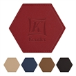 """Leatherette Coaster - 4 3/8"""" x 4"""" leatherette coaster with hexagon shape and multiple color options"""