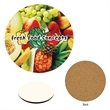 """Full Color Round Coaster - 3 5/8"""" round coaster with a cork bottom, protective lamination and non-slip bottom."""