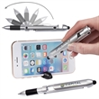 Robot Series® Pen/Stylus w/ Phone Holder - Plastic pen that folds and has a silicone stylus tip and black medium point ink