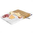 """Marble Cutting Board Charcuterie Set - 9"""" x 9"""" cutting board with marble design and slicer, and meat, cracker, mustard and cheese food gifts."""