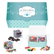 Cube Shaped Candy Set - Acrylic cube containers filled with gourmet food gifts in a customizable four color process box