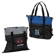 """Greeley Two-Tone Cooler Tote Bag - 0.25"""" x 16.5"""" x 17"""" 18-can cooler tote bag; includes PEVA lining, bottom stiffener, 2 sets of clips, and 22"""" handles."""
