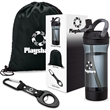 Workout 3-Piece Fitness Gift Set - Three-piece workout kit with 25 ounce Trian water bottle, 210D polyester sports bag, and 4-in-1 safety tool in custom packaging,