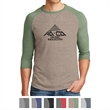 Alternative Men's Dugout 3/4-Sleeve Vintage 50/50 Tee - Men's T-shirt made of 50/50 cotton/polyester with a stitched V detail at the neck and contrast 3/4 raglan sleeves.