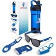 Energy 5-Piece Fitness Gift Set - Five-piece gift set with 25 oz. Tritan™ water bottle, PC sunglasses, earbuds, hand sanitizer, carabiner clip and flashlight.