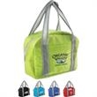 City Style Lunch Bag - Lunch tote with foam insulation, silver PEVA lining, zipper closure and additional compartment.