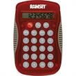 Deskmate Calculator - Full-function Wave calculator with an 8-digit LCD display, soft, raised rubber buttons, and a curved design.