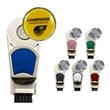 Groove Brush with Marker - Zinc and aluminum golf groove brush and ball marker with colored shield insert.