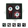 """Gift Set with Poker Chip - Customizable golf-themed gift set with 1 1/2"""" zinc-aluminum ball marker, divot tool, magnetic hat clip and poker chip in gift box."""