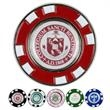 Metal Poker Chip Magnetic Ball Marker - Solid metal poker chip with two-sided imprint and removable magnetic ball marker.