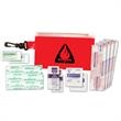 First Aid Kit - First aid kit with bag, bandages, towelettes and ointment and gauze pad.