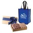 Executive Gift Set With Shiny Non-Woven Snowflake Tote Bag - Executive gift set with a tote bag filled with salty and sweet snacks of your choosing.