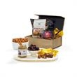 Magnet For Success Gift Box - Magnetic gift box filled with raspberry honey mustard dip, pretzel twists, dark chocolate covered almonds and butter toffee.