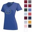 Gear for Sports® Women's Mia V-Neck Tee - The perfectly-placed V on the Mia V-Neck Tee is modest but flattering with 100% cotton sueded jersey fabric.
