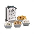 """Mondrian Gourmet Gift Box - 9"""" tall gift box filled with white frosted pretzels, peanut crunch, caramel nut corn and chocolate hazelnut filled cookies."""