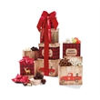 """Plaid Tidings Holiday Tower - 18"""" tall holiday themed gift tower with an assortment of sweet and savory treats."""