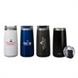 "Perka® Erie 16 oz. Double Wall Stainless Steel Tumbler - 3.38"" x 7.31"" x 3.38"" Perka® Erie 16-ounce double-wall stainless steel and PP tumbler with flip spout top. FDA compliant and BPA"