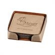 6 Piece Square Leatherette Coaster Set - Set of 6 synthetic leather coasters with square shape and laser customization.
