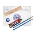 Clear Translucent School Kit - School kit includes 2 round pencils, crayons, wood ruler and a pencil sharpener.