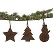 DECK THE HALLS - Set of three leather ornaments in the shape of a star, tree, and snowman.